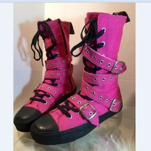 Demonia Multi Strap High Top Boot Pink Sneakers 10